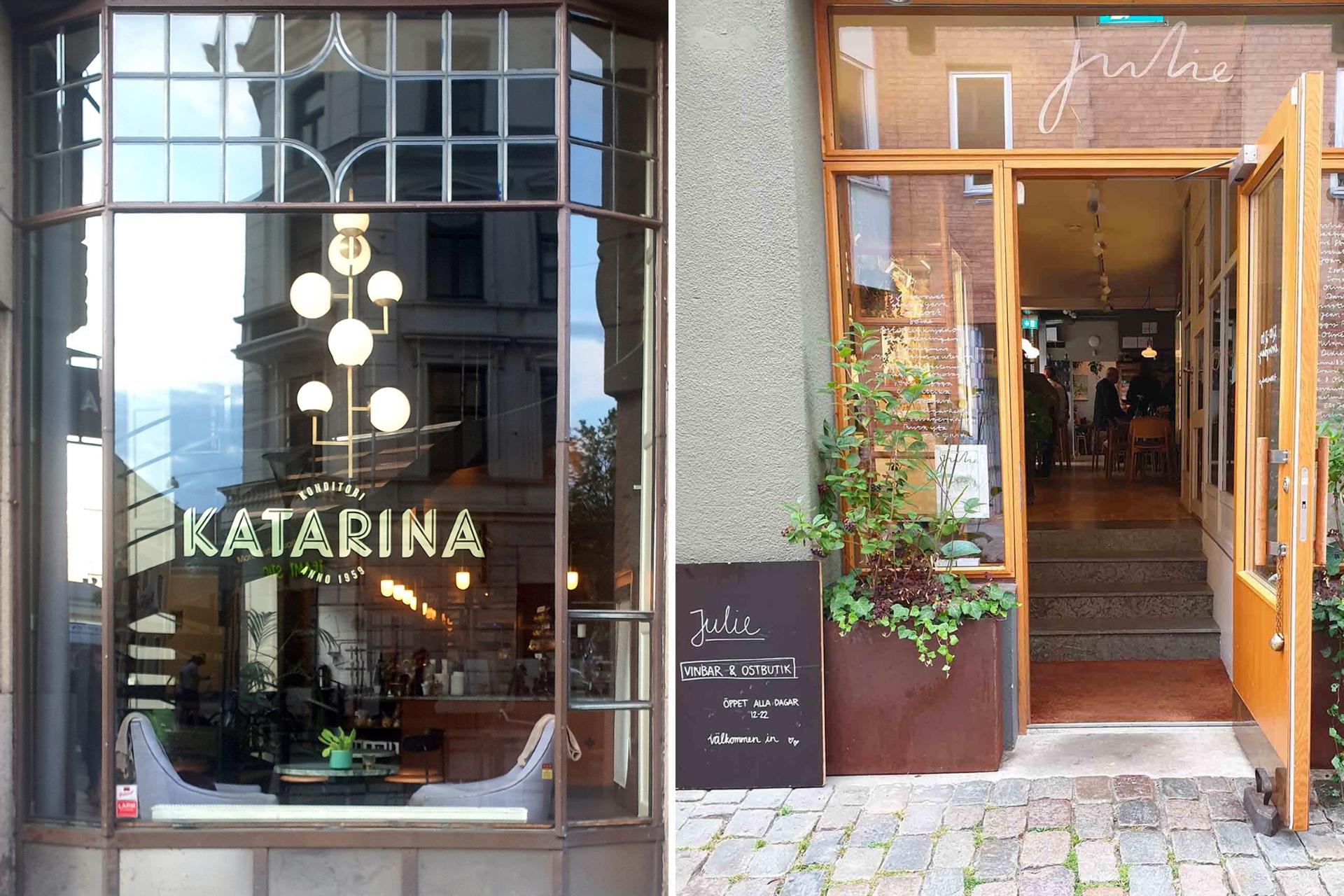 A sinistra una pasticceria storica a Malmo, a destra wine&food hotspot